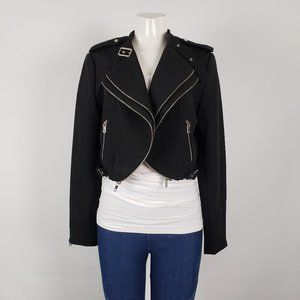 Dex Black Jersey Cropped Jacket Size L